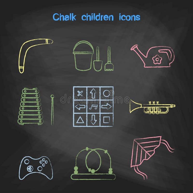 Icônes de style de CRAIE réglées Collection de jouets pour enfants d'icônes de vecteur illustration libre de droits