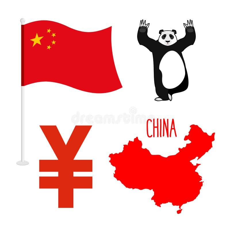 Icônes de symbole de la Chine réglées Carte et drapeau de pays Signe de nationa illustration de vecteur