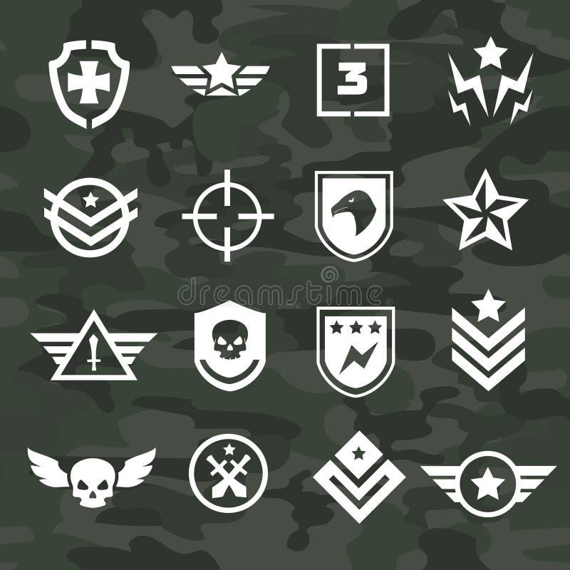 Icônes de symbole militaire et forces spéciales de logos illustration stock