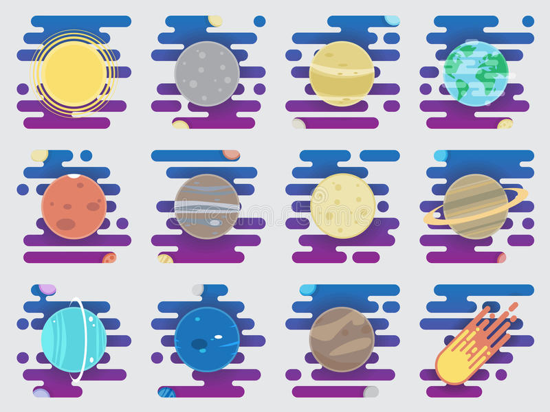 Icônes de système solaire - planètes, comète, satellite de l'illustration plate de planètes illustration stock