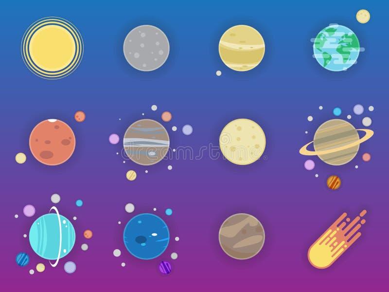 Icônes de système solaire - planètes, comète, satellite de l'illustration plate de planètes illustration libre de droits