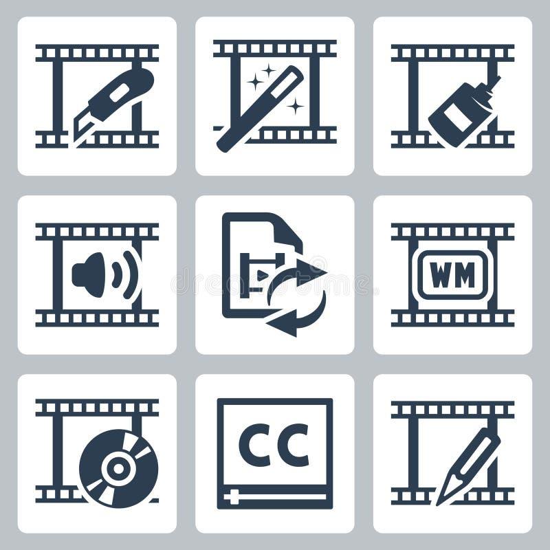 Icônes de table de montage et de convertisseur illustration de vecteur