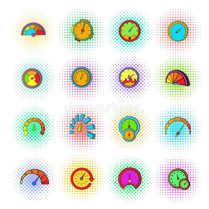 Icônes de tachymètre réglées, style de bruit-art illustration libre de droits