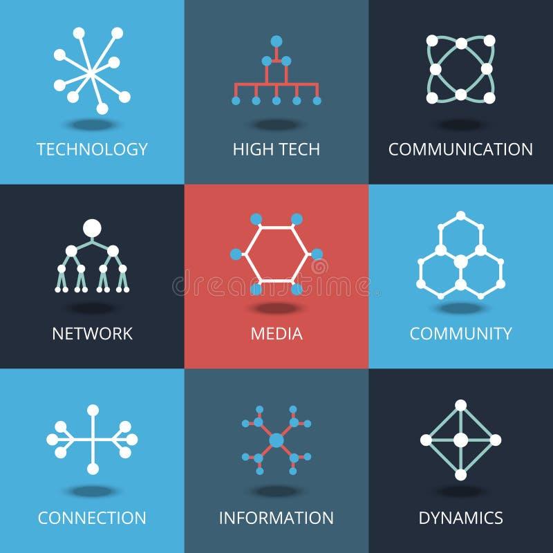 Icônes de technologie Dirigez les signes pour la technologie et la connexion, communication de réseau illustration libre de droits
