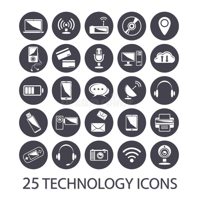 Icônes de technologie réglées illustration stock