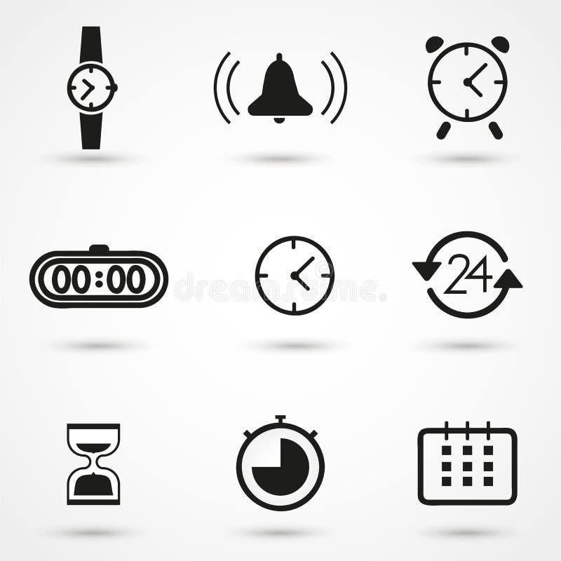 Icônes de temps et d'horloge réglées photo stock