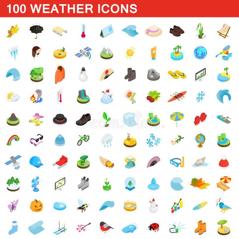100 icônes de temps réglées, style 3d isométrique illustration libre de droits