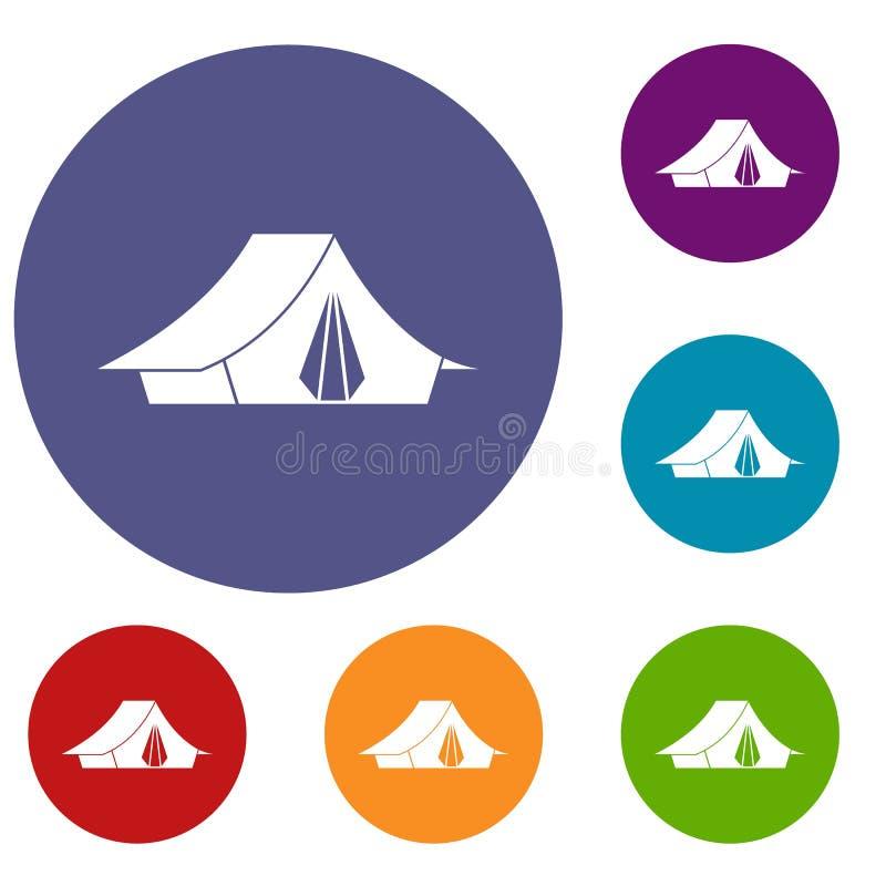 Icônes de tente de camping réglées illustration de vecteur