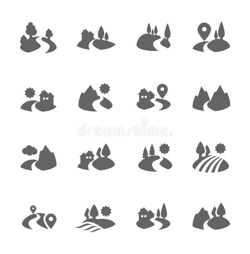 Icônes de terre illustration stock