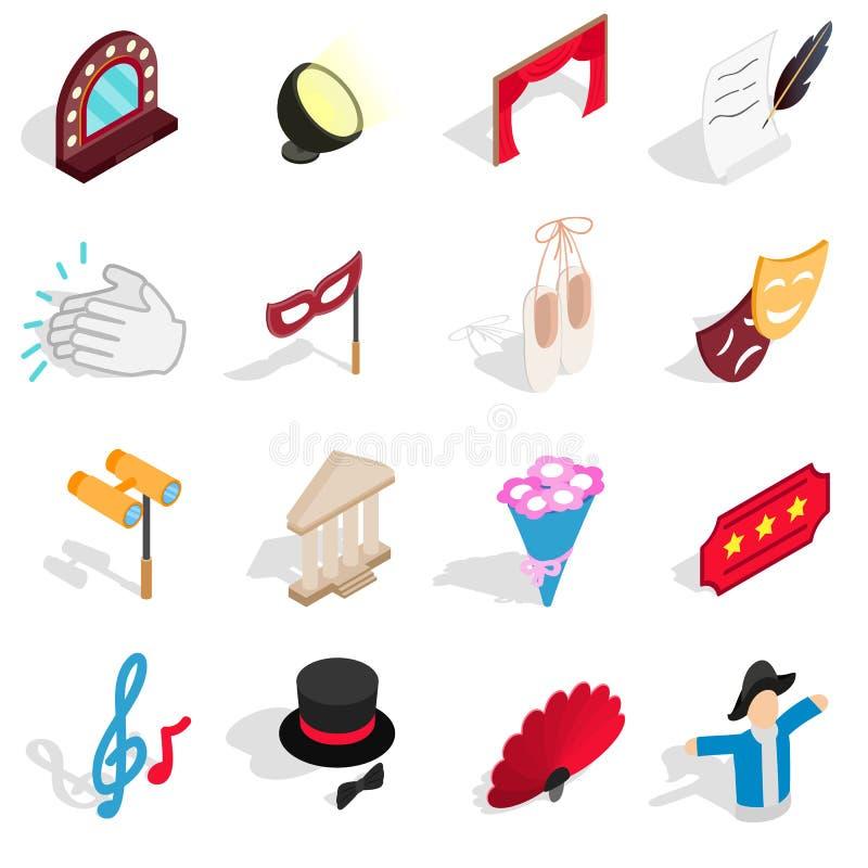 Icônes de théâtre réglées, style 3d isométrique illustration stock