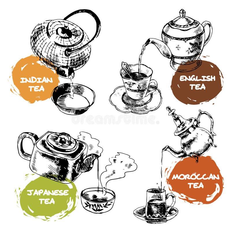 Icônes de théière et de tasses réglées illustration stock