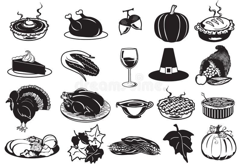 Icônes de thanksgiving illustration stock