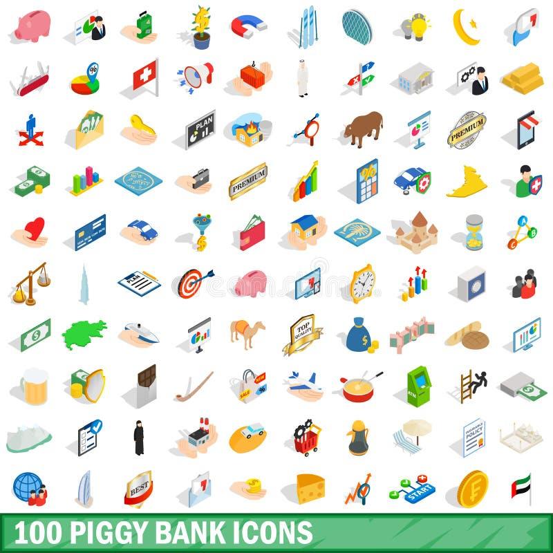 100 icônes de tirelire réglées, style 3d isométrique illustration libre de droits