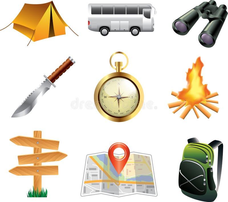 icônes de tourisme et de camping illustration stock