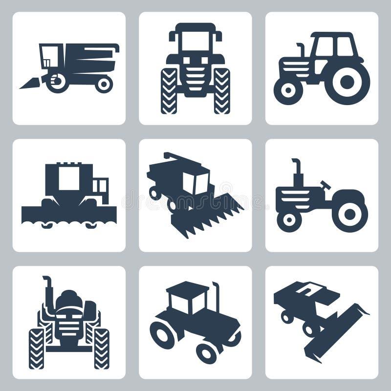 Icônes de tracteur de vecteur et de moissonneuse de cartel illustration stock