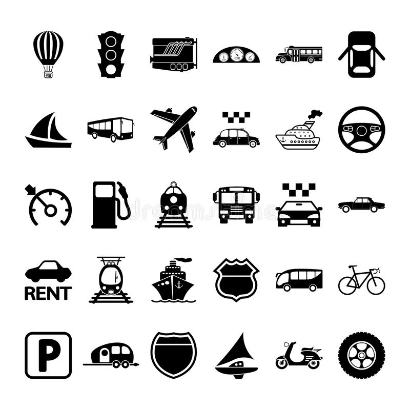 30 icônes de transport illustration stock