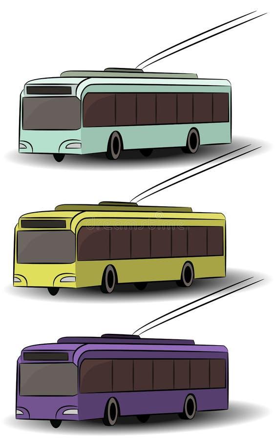 Icônes de transport de ville Autobus de vue de côté, tram, trolleybus Véhicule passager de vecteur Machines électriques urbaines  image stock