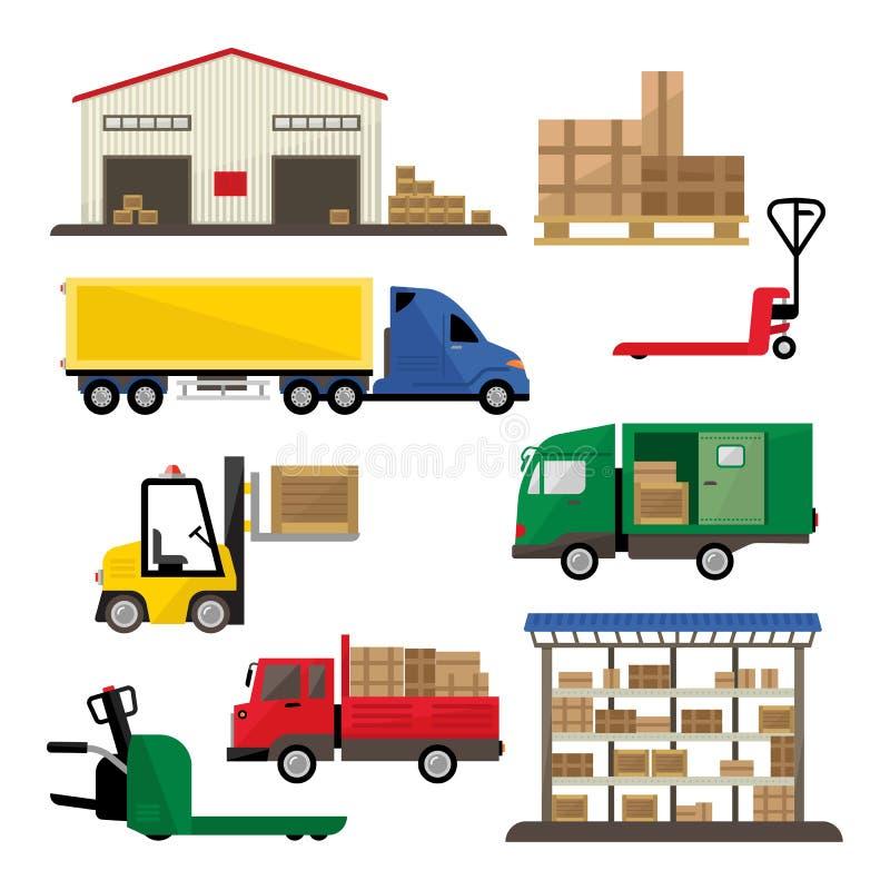 Icônes de transport et de livraison d'entrepôt plates illustration libre de droits