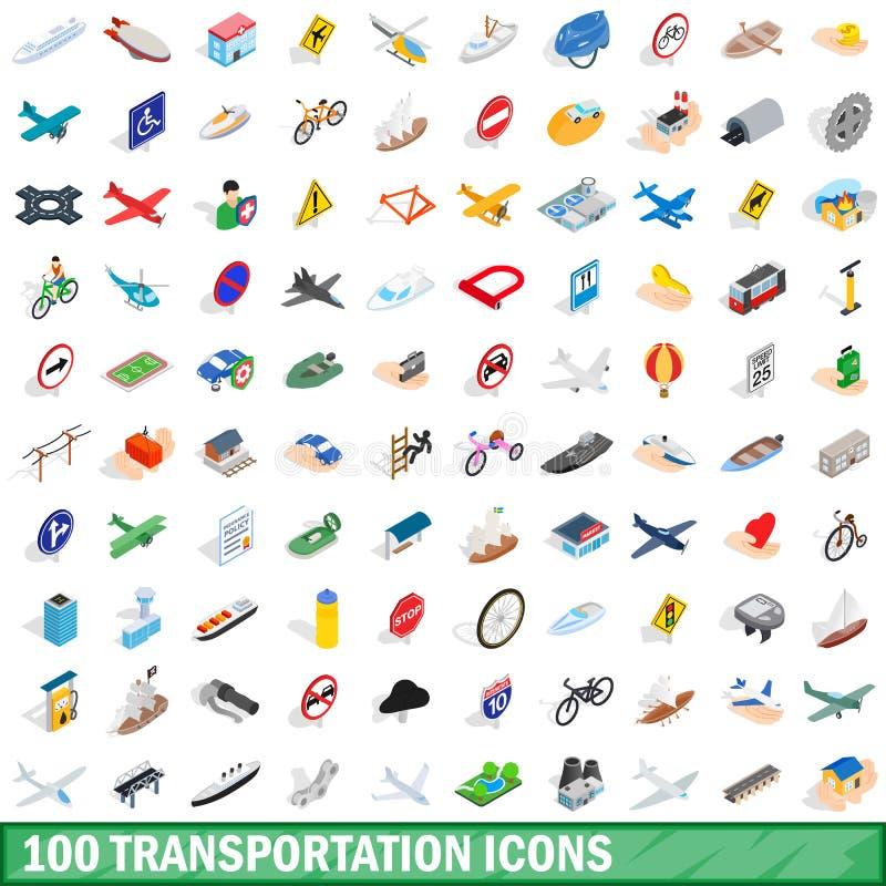100 icônes de transport réglées, style 3d isométrique illustration stock