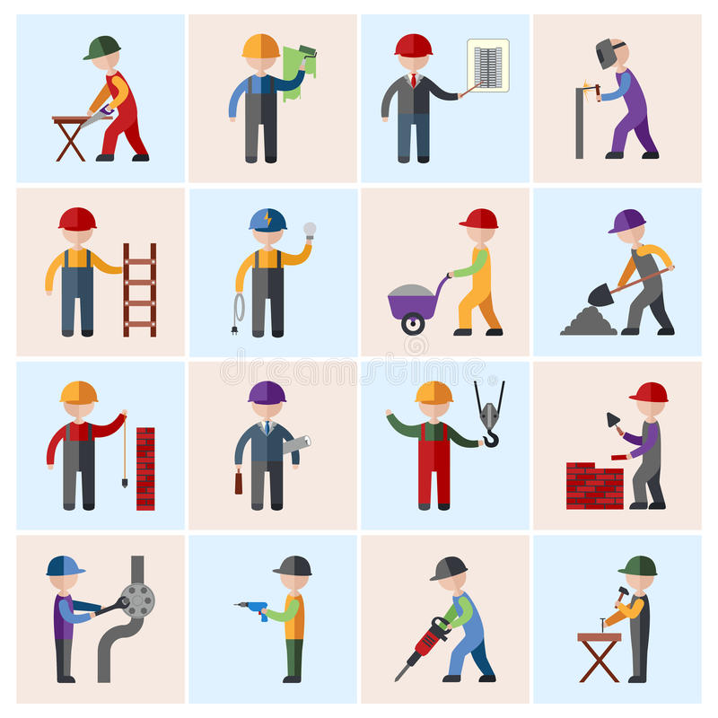 Icônes de travailleur de la construction plates illustration de vecteur