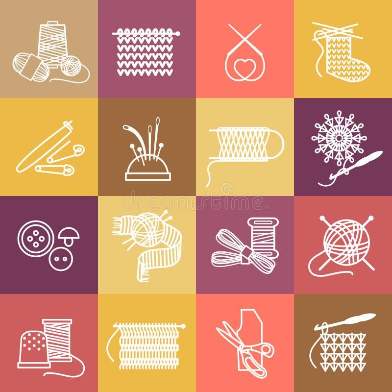 Icônes de tricotage réglées illustration libre de droits