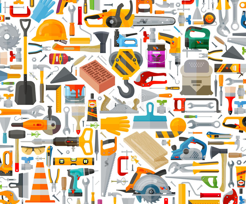 Icônes de trousse d'outils Signes et symboles illustration stock