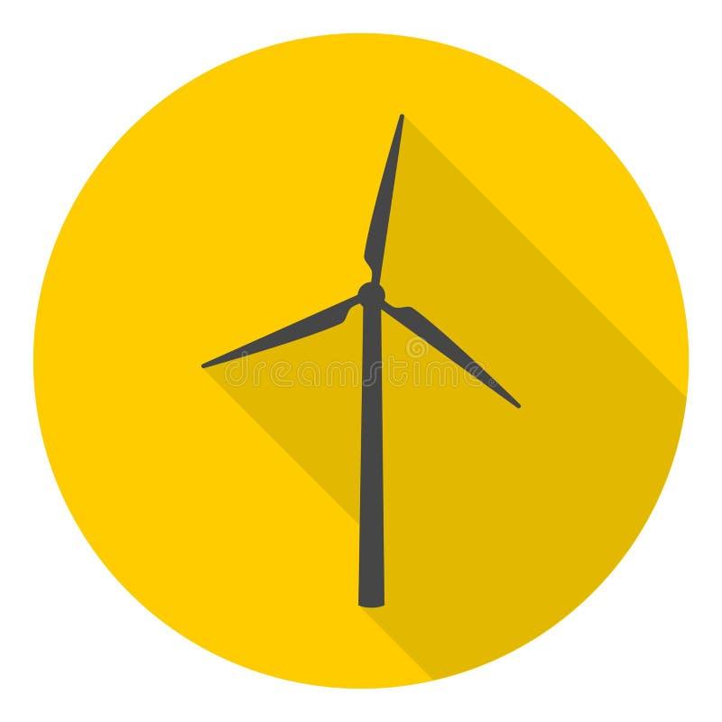 Icônes de turbine de vent réglées avec la longue ombre illustration libre de droits
