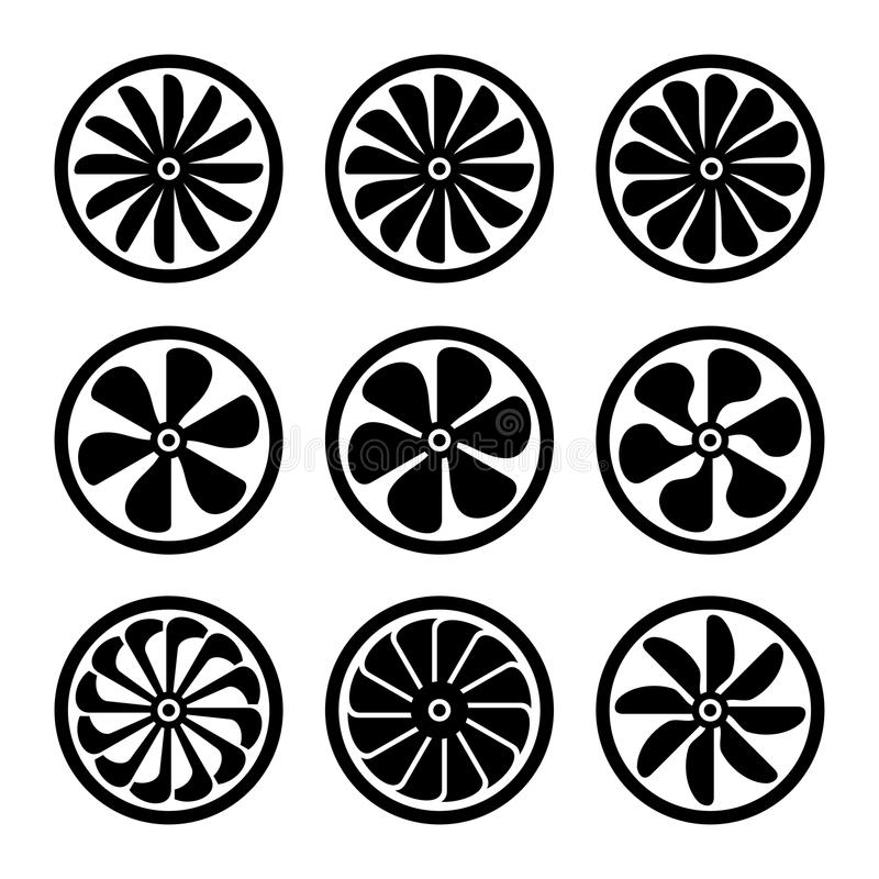 Icônes de turbines réglées Puissance de turboréacteur Vecteur illustration libre de droits