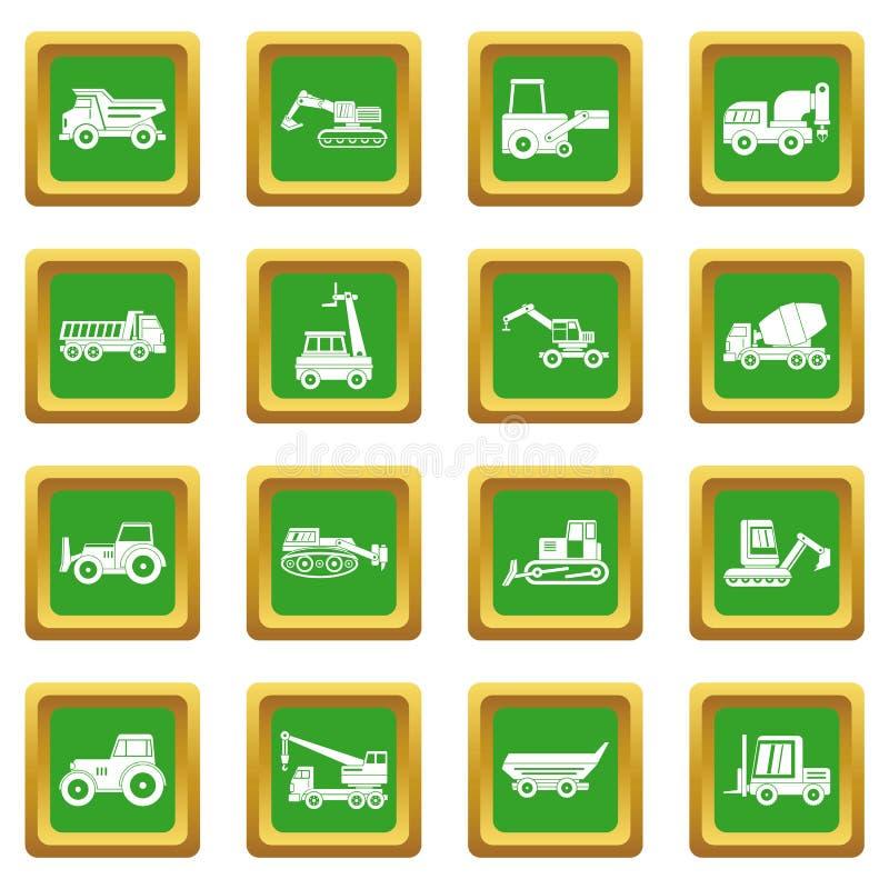 Icônes de véhicules de bâtiment réglées vertes illustration stock