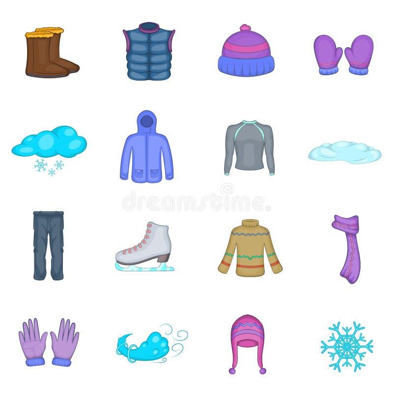 Icônes de vêtements d'hiver réglées, style de bande dessinée illustration stock