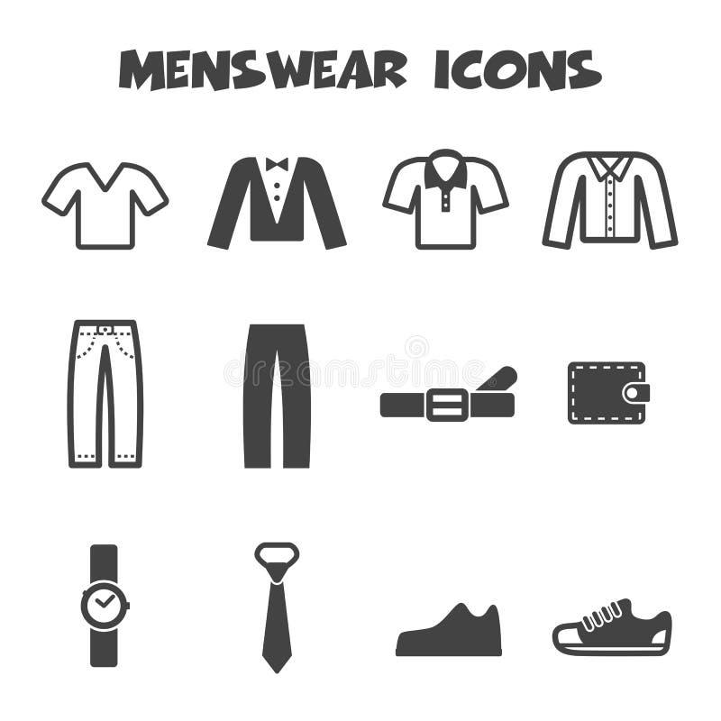Icônes de vêtements d'homme illustration libre de droits