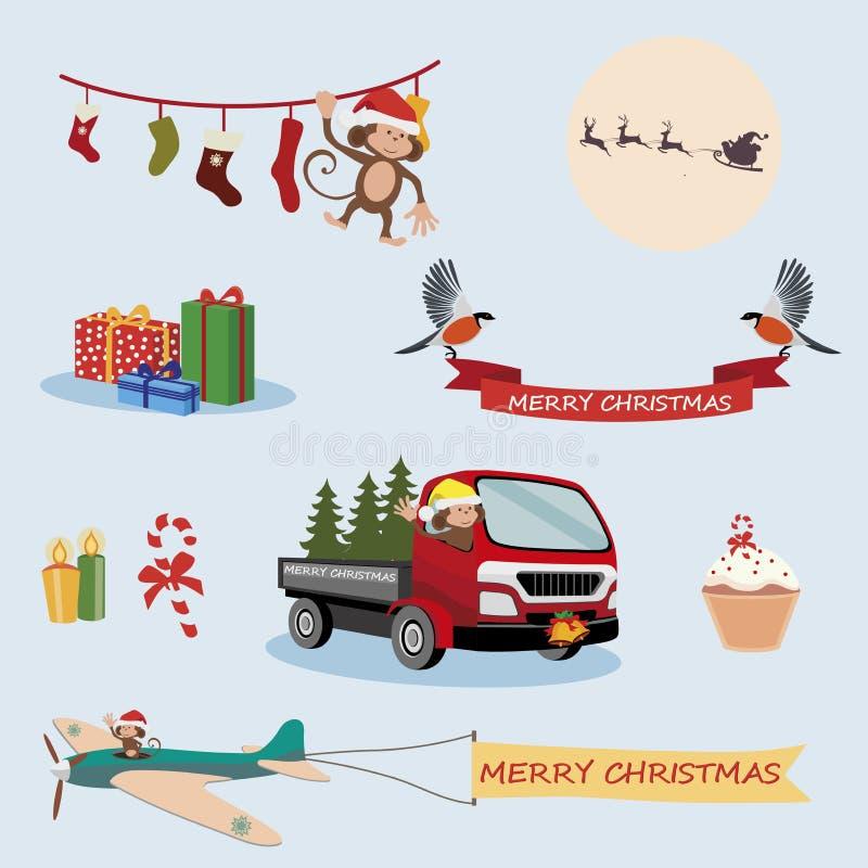Icônes de vacances de Noël et de nouvelle année photographie stock libre de droits