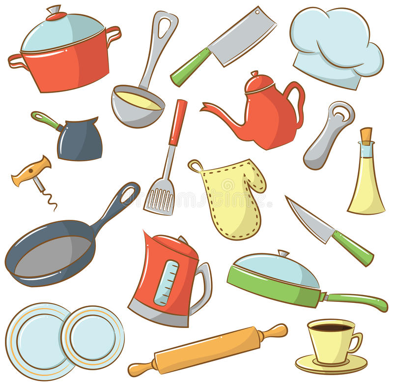 Icônes de vaisselle de cuisine illustration stock