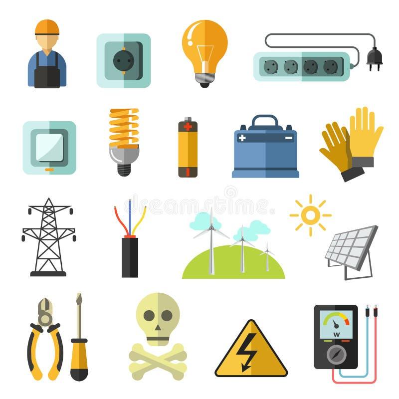 Icônes de vecteur d'équipement de l'électricité réglées illustration stock