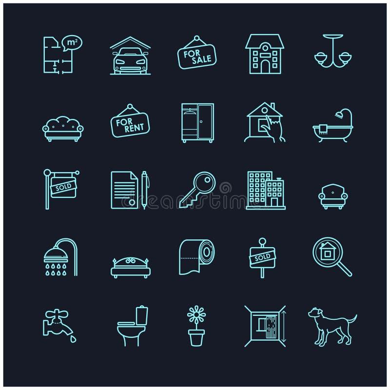 Icônes de vecteur d'actions de Chambre et d'immobiliers illustration de vecteur