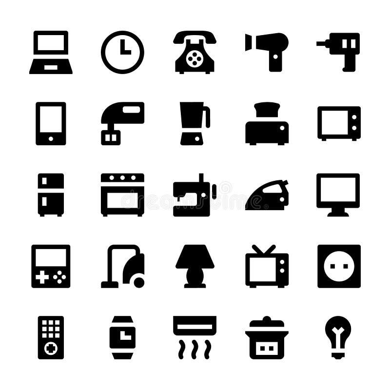 Icônes 1 de vecteur d'appareils ménagers illustration libre de droits