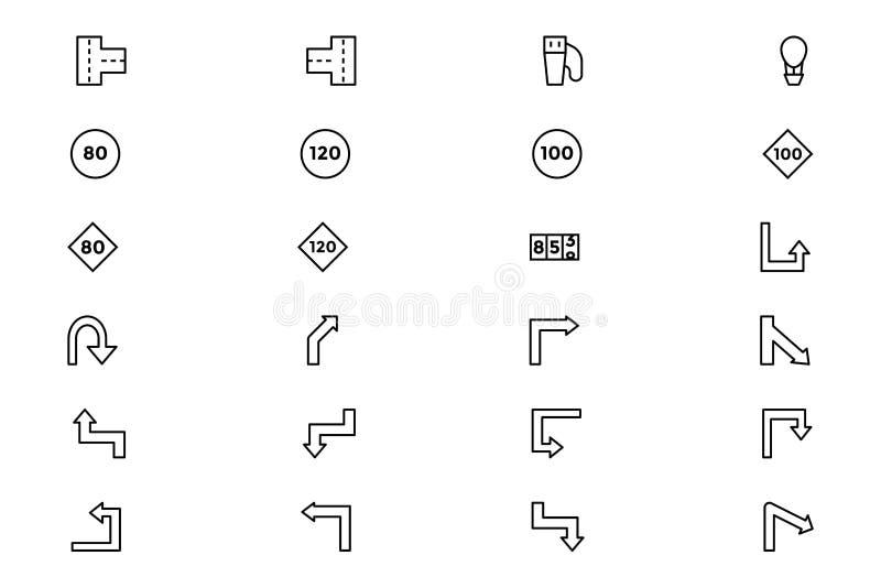 Icônes 4 de vecteur d'ensemble de route illustration de vecteur