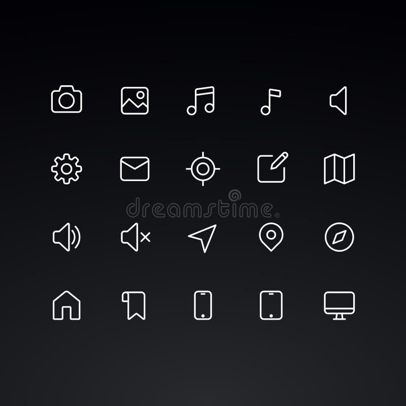 Icônes de vecteur d'ensemble pour le Web et le mobile illustration de vecteur