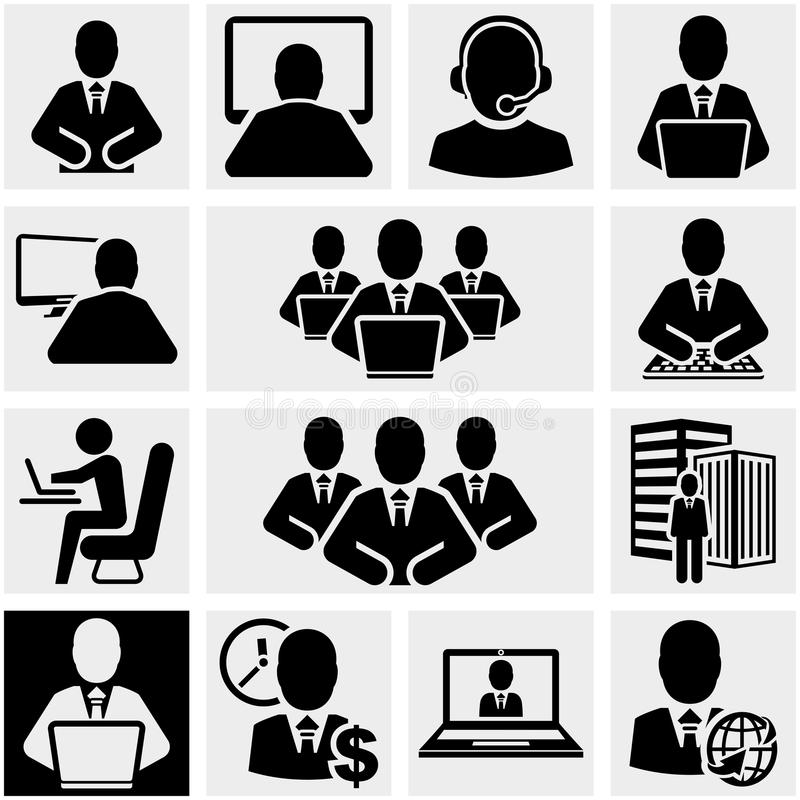 Icônes de vecteur d'homme d'affaires réglées sur le gris. illustration de vecteur