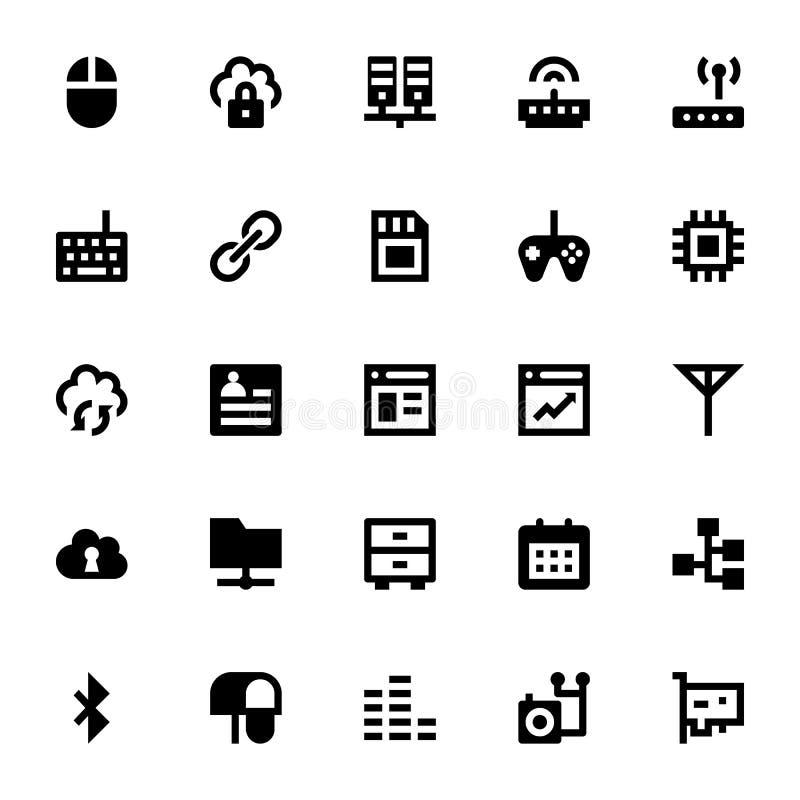 Icônes 5 de vecteur d'Internet, de mise en réseau et de communication illustration libre de droits