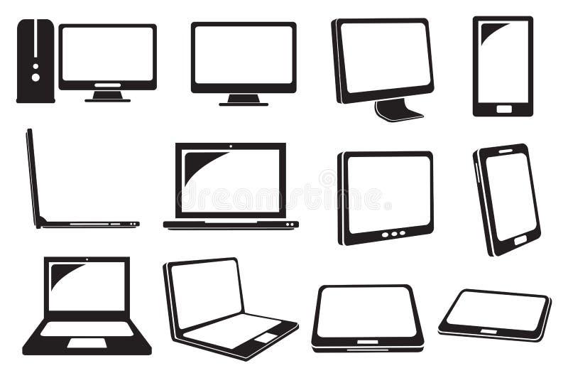 Icônes de vecteur d'ordinateur et d'ordinateur portable illustration de vecteur