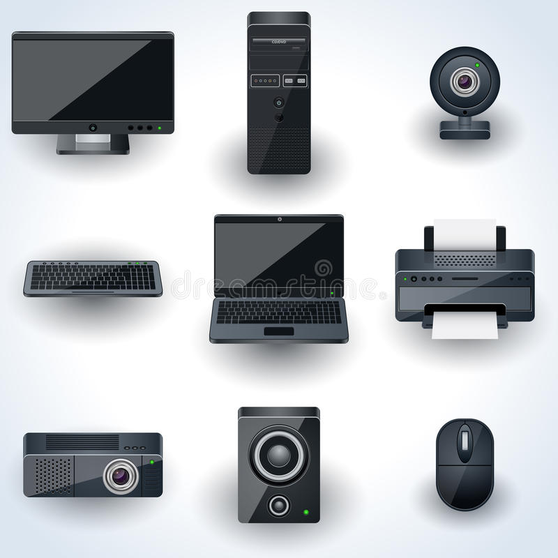 Icônes de vecteur d'ordinateurs et de périphériques illustration de vecteur