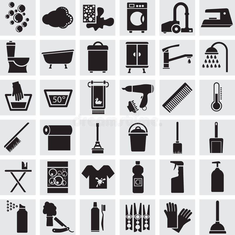 36 icônes de vecteur d'une salle de bains et d'une toilette illustration libre de droits