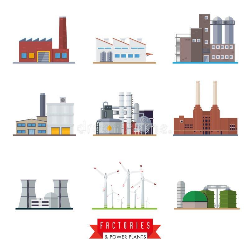 Icônes de vecteur d'usines et de centrales illustration libre de droits