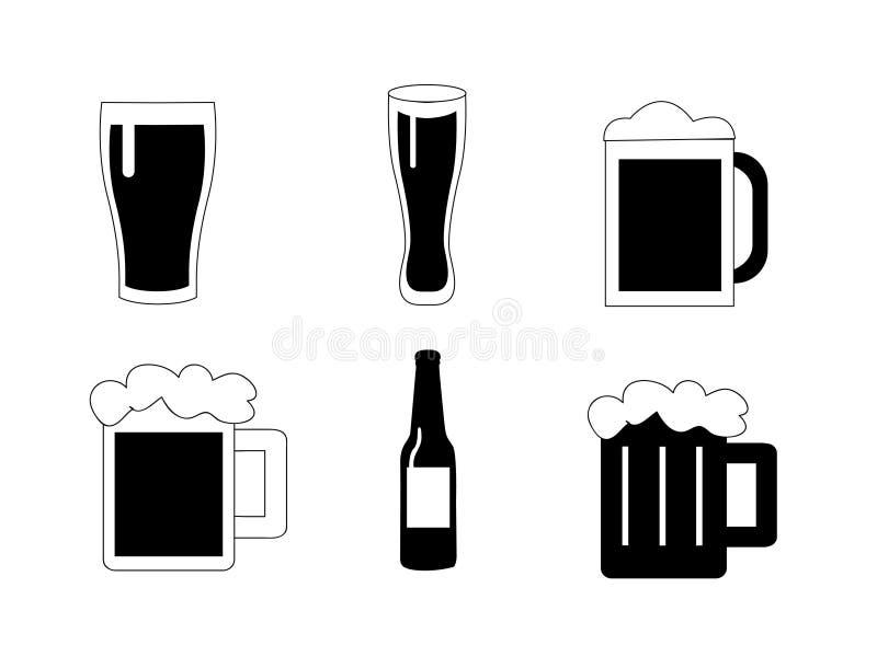 Icônes de vecteur de bière réglées illustration de vecteur