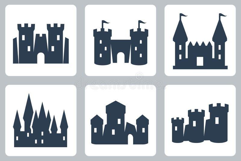Icônes de vecteur de châteaux illustration libre de droits