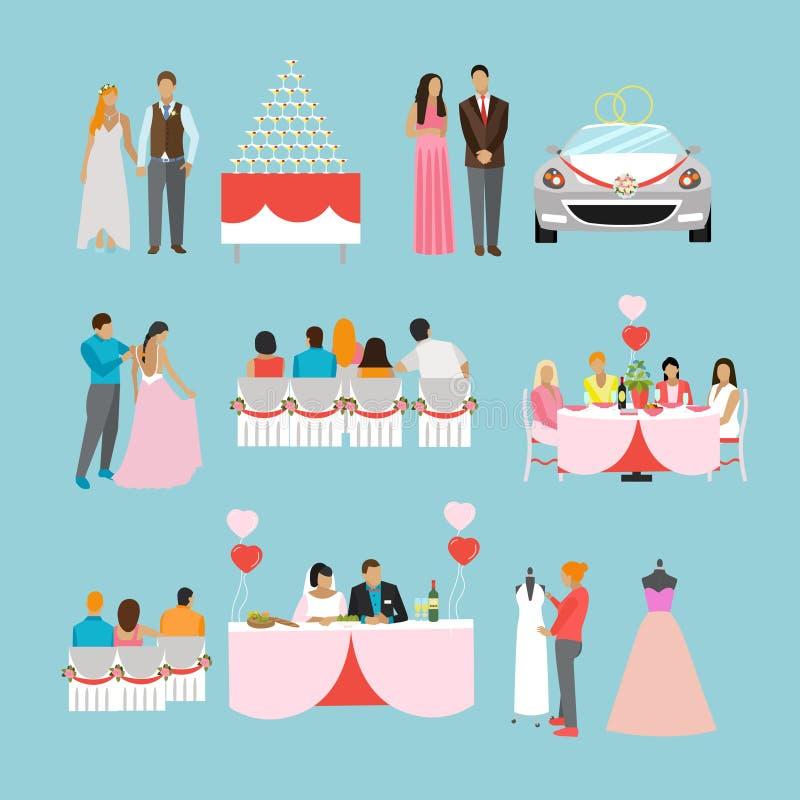 Icônes de vecteur de conception de cérémonie de mariage Party les objets illustration libre de droits