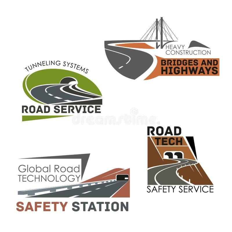 Icônes de vecteur de construction de routes et de service illustration stock