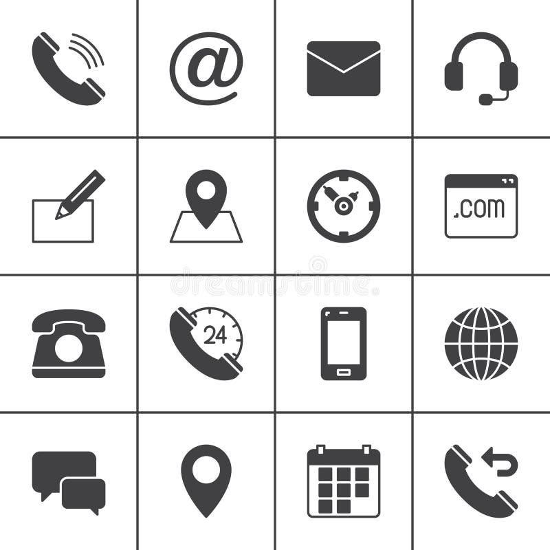 Icônes de vecteur de contact réglées, collection solide moderne de symbole, paquet rempli de pictogramme de style Signes, illustr illustration stock