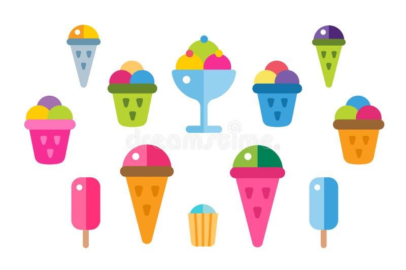 Icônes de vecteur de crème glacée réglées illustration de vecteur